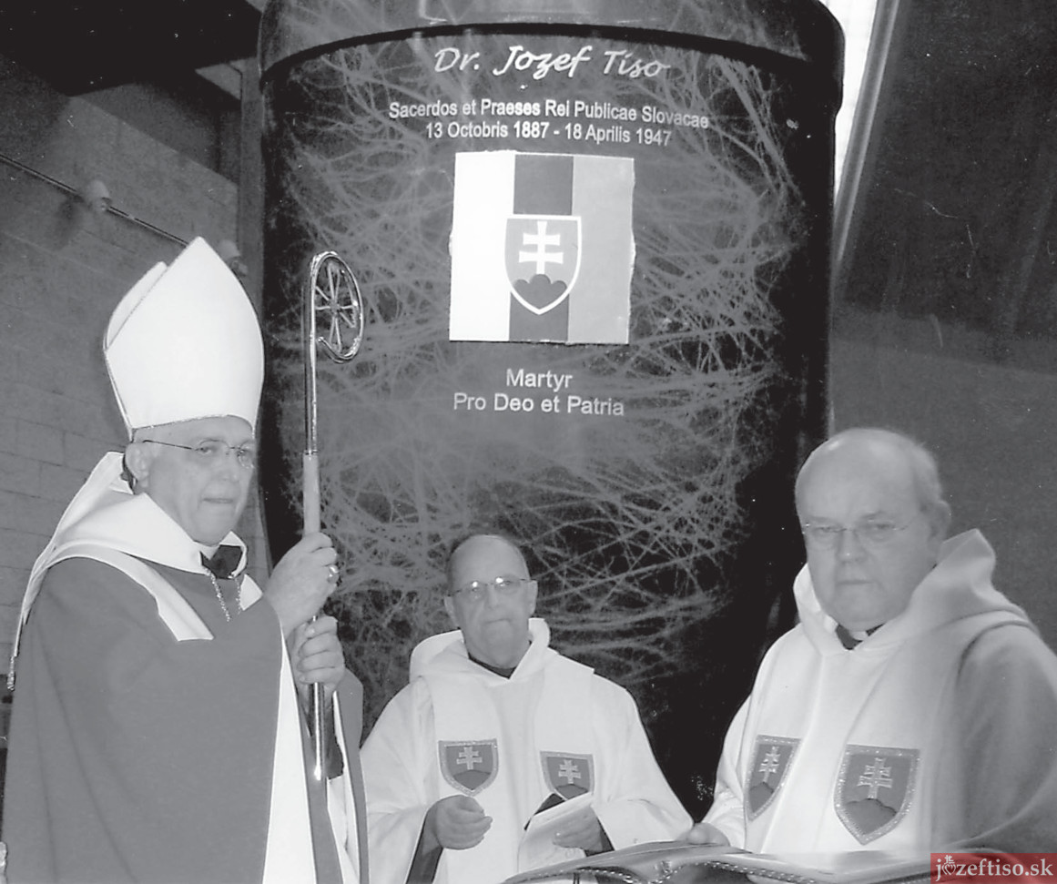 The presentation of Msgr. Tiso's relics to Abbot Clement Zeleznik, OSB, Rev, Joachim Pastirik, OSB, and Rev. Albert Marflak, OSB.